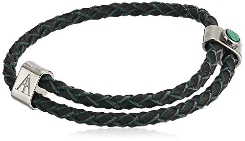 Alex and Ani Men's Malachite Braided Leather Bracelet, Midnight Silver