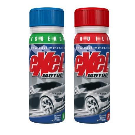 Exel Motor® - Essence - nettoyant moteur voiture - décrassant haut bas moteur essence - longévité et efficacité - traitement intégral moteur - 2x50ml