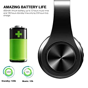 Wireless Headset with Mic, Foldable Bluetooth Headphone with 3.5mm Audio Jack, Built-in Noise Cancelling Microphone, Support for Plug-in Card, for PC, Phone(Black)