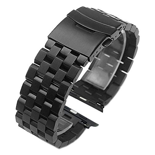 Kai Tian Edelstahl Armband 42mm 44mm kompatibel for Apple Watch Sport Series 5 4 3 2 1 schwarz einschraubbares Armbanduhr schwarz verstellbares Handgelenk Uhrband Herren Damen