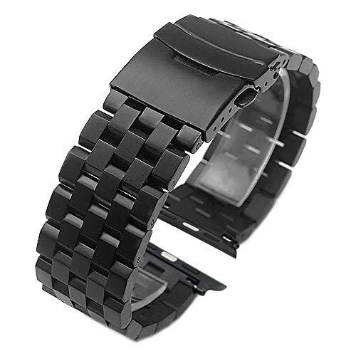Kai TianEdelstahl Armband 42mm 44mm kompatibel mit Apple Watch Sport Series 5 4 3 2 1 schwarz einschraubbares Armbanduhr schwarz verstellbares Handgelenk Uhrband Herren Damen
