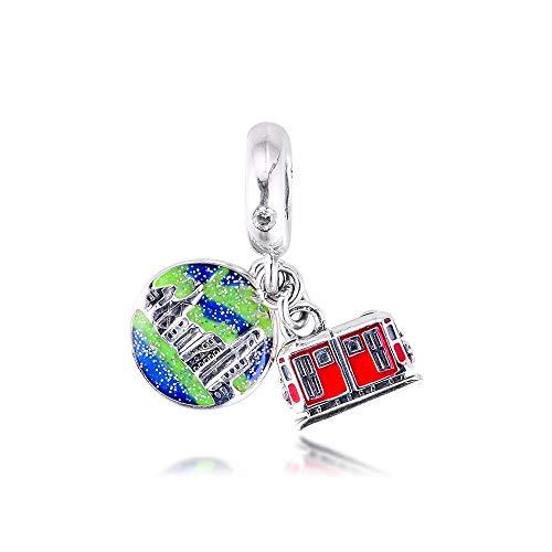 Mujer Pandora S925 Plata De Ley Hong Kong Peak Tram Dangle Charms Bead Fashion Girl Pulsera Collares Fabricación De Joyas DIY