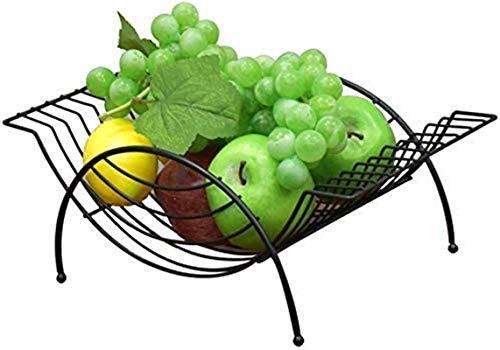 Soporte para cesta de frutas, Snack Fruit Placa, Buñuelo Snack Dip Bowls Dishware Metal Fruit Basket, Soporte de exhibición de frutas de fruta de hierro forjado negro, Candy Snack Cesta de almacenamie