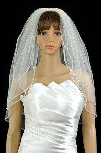 Bridal Wedding Veil White 2 Tiers Long Elbow Length With Rhinestone Edge by Velvet Bridal
