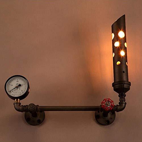 FANPING 1-Luz Válvula roja de la pared de Steampunk Loft hierro creativo pared de metal industrial de la lámpara retro American Cafe Escalera Pasillo Pasillo de la vendimia Luz Indicador de presión de