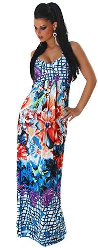 Graffith Jela London Damen Neckholder-Maxikleid extra lang mit Buntem Muster Einheitsgröße (34-38), blau
