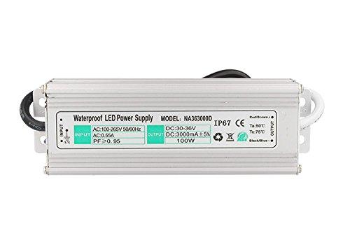 Driver LED, impermeable IP67, 3000 mA, 27-36 V CC, 100 W, alimentador, corriente continua XC-PF90120A