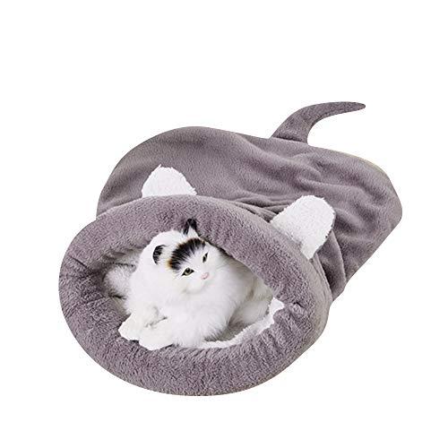 BLEVET Warm Waschbare Kätzchen Bett Winddicht Sack Kuschelig Tasche Decken Matte Haustier Schlafsäcke für Katze und Hund MZ042 (M, Grey)