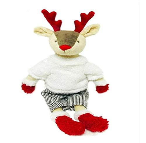 FGBV Plüschspielzeug 33 cm gekleidete Hirschgefüllte Plüschpuppe mit abnehmbarem Outfit Birhtday Geschenk für Junge Schönes Rentier weiches Spielzeug mit Mantel dekorieren Geschenke Manmiao
