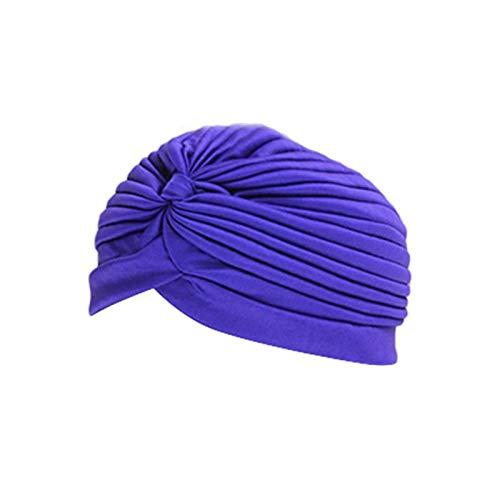 DYKJK Cómodo gorro de natación elástico de nailon turbante transpirable para piscina, deportes al aire libre, yoga, turbante de poliéster elástico para cabello largo y pelo corto (color: púrpura)