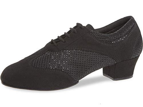 Diamant Damen Trainerschuhe 188-234-548-V - Glitter Schwarz - 3,7 cm Cuban - VarioSpin Sohle - Größe: UK 4,5