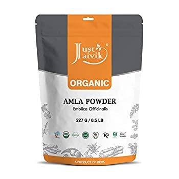 Just Jaivik 100% Organic Amla Powder - Certified Organic by OneCert Asia  227 GMS / 1/2 LB Pound / 08 Oz - Indian Gooseberry - Emblica Officinalis -  an USDA Organic Certified Herb