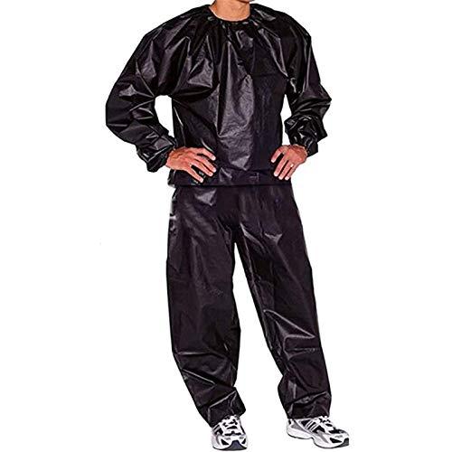 Saunaanzug, Hochleistungs-Saunaanzug, Gewichtsverlust Abnehmen Anzug Fitnessstudio Fitness-Trainingskleidung Männer Frauen Trainings-Trainingsanzug, PVC-Saunaanzug (Color : Black, Size : XXL)