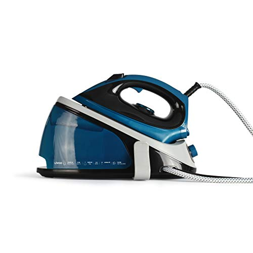 Fer à repasser à vapeur avec semelle en céramique 2100 W Bleu (semelle antiadhésive, auto-nettoyante, réservoir d'eau 1,1 l, thermostat)