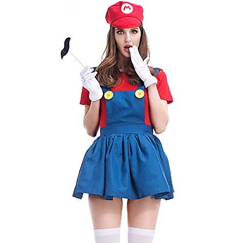 JXILY Halloween Cosplay Family Game Gruppe Kleidung Bühnenkostüme Klempner Kleidung des Eltern-Kind-Outfit,Woman red,L