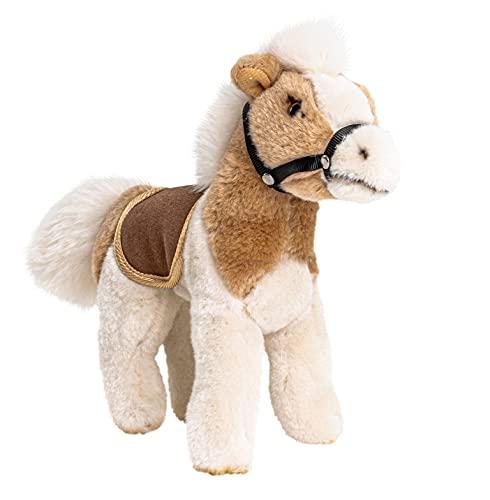 Uni-Toys - Pferd mit Sattel, stehend, beige-Hellbraun - 24 cm (Länge) - Bauernhoftier - Plüschtier, Kuscheltier, BH-13051