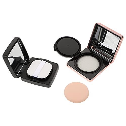 Lurrose 2Pcs Leere Nachfüllbare Make- Up Pulver Behälter Air Kissen Puff Fall BB Creme Box Pulver Box mit Air Kissen Schwamm Kunststoff Kosmetische Gläser Reise Container