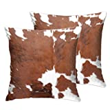 Entua 2 Pcs Cowhide Throw Pillow Covers Decorative Pillow Cases Farm Animal Brown Cow Skin Print Pillow Case 18 X 18 Inch Velvet Square Cushion Cover for Sofa Bedroom