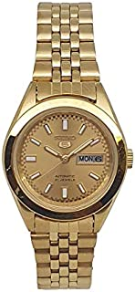 Seiko automatic 21 Jewels Calendar golden Stainless steel ladies watch SYMF62J