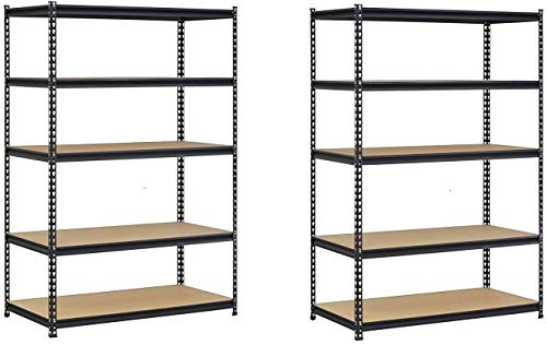 EDSAL UR1848AZ-BLK Steel Storage Rack, 5 Adjustable Shelves with Post Couplers and Plastic End Caps, 4000 lb. Capacity, 72″ Height x 48″ Width x 18″ Depth, Black (Pack of 2)