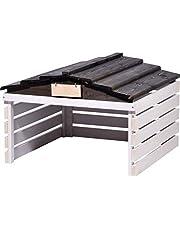 dobar garage voor robotmaaier met afneembaar dak, onderstel voor auto's, 78,5 x 74 x 52,5 cm, spar wit/zwart