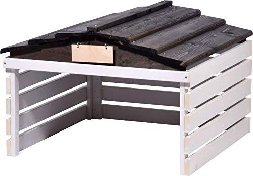 dobar 56192e Mährobotergarage mit abnehmbarem Dach, Unterstand für Automower, 78,5 x 74 x 52,5 cm, Fichte, Weiß/Schwarz