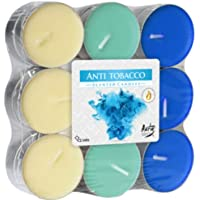 6 velas de té aromáticas de 18 antitabaco en paquete de bloque en gradación de color claro y oscuro.