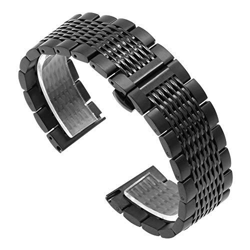 Kai Tian Correa de reloj de malla negra de liberación rápida Correa reloj de repuesto de acero inoxidable de 20mm con cierre de hebilla de metal para hombres mujeres