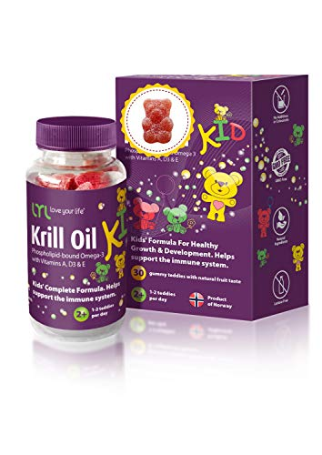 LYL Krill Oil Kid Gummy Bears with Vitamin D 3, Vitamin E and Vitamin A - phospholipid-Bound Omega 3 for Healthy Growth & Development - Pack of 30 Gummy Bears with Orange, Apple & Raspberries Flavour