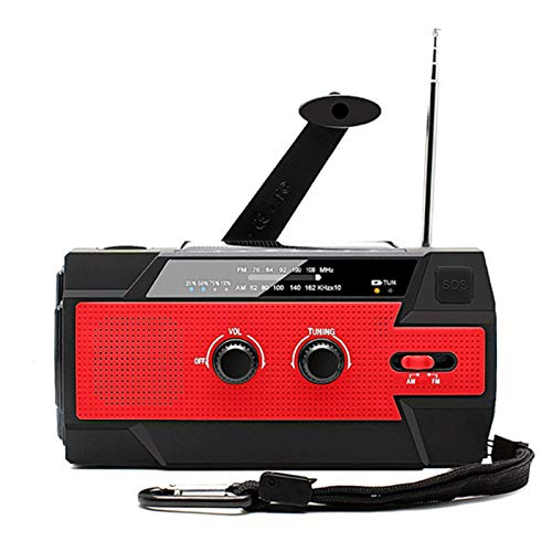OFAY Emergency Solar Hand Crank Portable Radio 4000Mah, NOAA Weather Radio Power Bank USB Charger for Household/Outdoor Emergency with AM/FM, LED Flashlight And SOS Alarm,Red