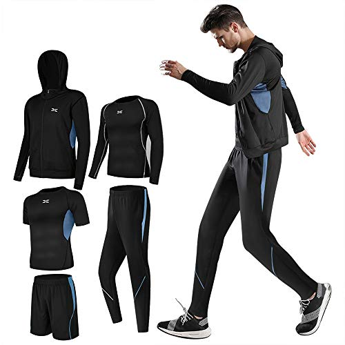 414UPnCBPIL. SS500  - Lachi Mens Gym Clothes Running Kit Shorts Workout 3/5Pcs Set Fitness Sports Compression Tracksuit Clothing Mens Gym…