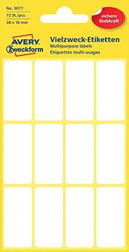 Avery Zweckform 3077 Haushaltsetiketten selbstklebend (38 x 18 mm, 72 Aufkleber auf 6 Bogen, Vielzweck-Etiketten für Haushalt, Schule und Büro zum Beschriften und Kennzeichnen) blanko, weiß
