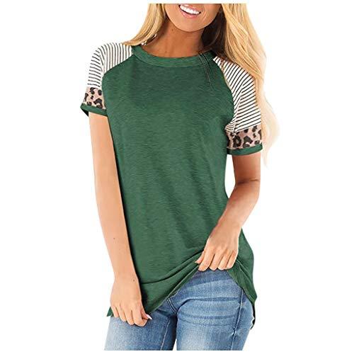 COVERMASON T Shirt Femme Casual Loose Comfy Shirt Grande Taille Eté Basique Top Col O Rayure léopard à Manches Courtes Haut Tunique Pas Cher Blouse Tee Shirt(Vert,S)