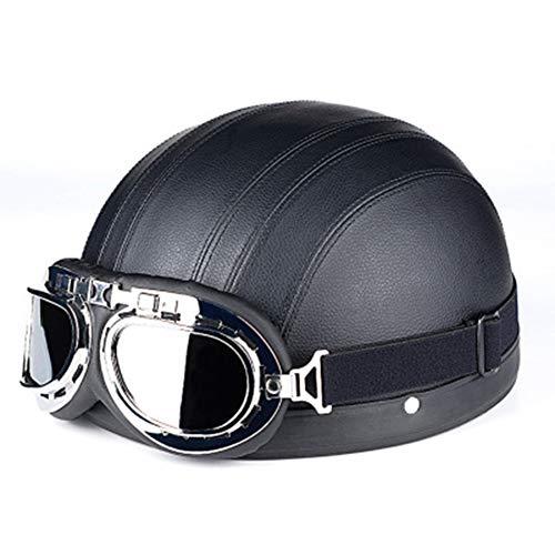 JT motorhelm retro leer vier seizoenen universele elektrische voertuig veiligheid helm met bril