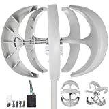 LOVESHARE Wind Turbine 400W DC 12V Wind Turbine Generator Kit 5 Blades Vertical Wind Power Turbine Generato White Lantern Style with Charge Controller for Power Supplementation
