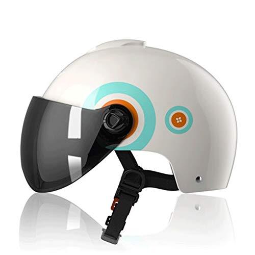 Halbschale Motorradhelm,Brain-Cap · Jet-Helm Offenes Motorrad-Helm Roller-Helm Scooter-Helm Mofa-Helm for Bobber Chopper Crash Cruiser Pilot Biker Racing mit Visier (Color : #3, Size : L(50-64CM))