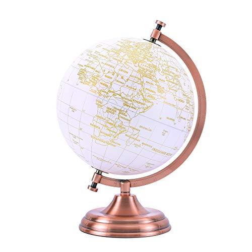 Exerz 20cm Globus Golden Farbe Metallisch - Pädagogische, Geografische, Moderne Desktop-Dekoration - Metallbogen Und -Basis, In Goldener Farbe Beschichtet - Deutsche Karte