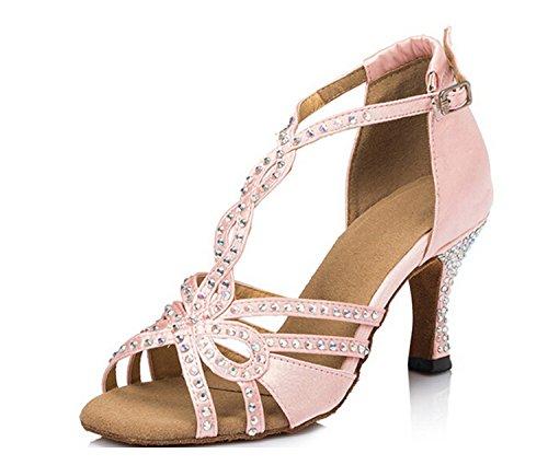 MINITOO Damen Latein Salsa Kristalle T-Strap Pink Satin Tanzschuhe Party Sandalen EU 39