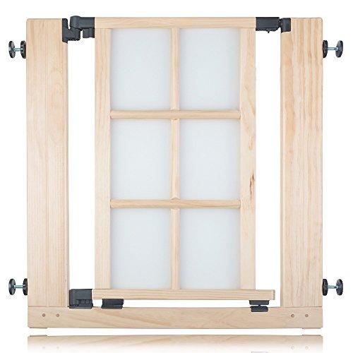 Safetots - Cancello per scale classico, in legno, a pressione, 74-81 cm, colore: Naturale
