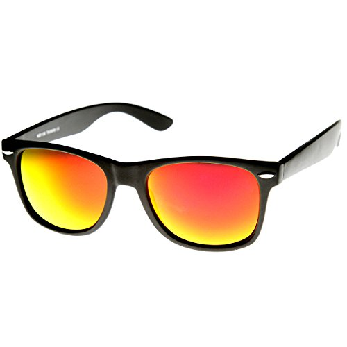 zeroUV 8025 Retro Matte Black Horned Rim Flash Colored Lens Sunglasses, Black Fire, 50mm