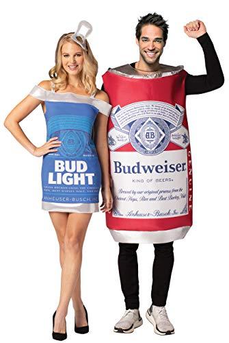 Rasta Imposta Bud Guy & Gal - Budweiser Vintage Can and Bud Light Dress Couples Costume Set Blue