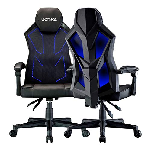 UOMAX LED Gaming Chair Light Computer Chairs with Ergonomic Mesh Back Support. Flatten Widen Seat Cushion Reclining Office Chair, Adjustable PC Gamer Chair with Swivel Rolling(Black Blue)