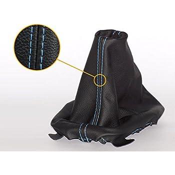 myshopx Schaltmanschette Echtleder in schwarz Naht blau
