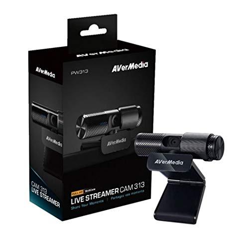 AVerMedia Live Streamer WEBCAM 313: Full HD 1080p, dos micrófonos incorporados, pestaña de seguridad y giro 360º. Ideal teletrabajo, videoconferencias
