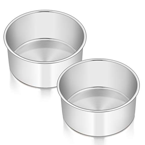 6 x 3 Inch Round Cake Pans, E-far Stainless Steel Deep Cake Baking Pan for Layer Cake Chiffon Cheesecake, Healthy Metal Cake Tin for Birthday Wedding Party, Straight Side & Dishwasher Safe - Set of 2