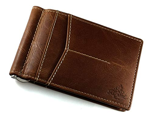 SGE 89® Money Clipper RFID Protected Genuine Leather Stylish Bi-fold Slim Money Clip Mens Wallet (Coffee Brown)