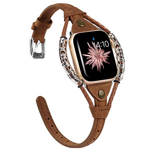 Wearlizer Scrub Brown Leather Compatible with Apple Watch Band 42mm 44mm for iWatch SE Womens Strip Strap, Vintage Rivet Handmade Rope Wristband Dressy Bracelet (Silver Clasp) Series 6 5 4 3 2 1