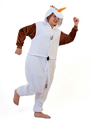 Unisex Snowman Olaf Frozen Onesie Kigurumi Pyjama Karneval Kostüm Maskenkostüm Kapuzenpulli Schlafanzüge XL(Height 180cm-190cm)