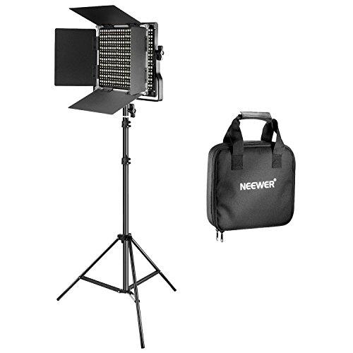 Neewer Bi-color 660 LED de Luz de Vídeo Kit Incluye: (1)3200-5600K CRI 96+ Regulable Luz con Soporte en U y Barndoor, (1)200-centímetro Soporte de Luz para YouTube Estudio Fotografía Video Grabaciones
