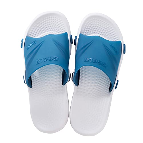 XJMPYGR Zapatillas de Pareja Sandalias de Secado rápido de Punta Abierta Suave Antideslizante Masaje Piscina Gimnasio Casa Zapatilla para Interiores y Exteriores,Azul,11UK